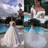 Wholesale white short wedding dressing resale online - 2019 Full Lace Wedding Dresses Off Shoulders D Floral Lace Appliques Bridal Gowns with Corset Back Tulle Long Court Train