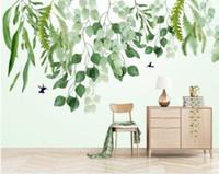 modern yaprak resimleri toptan satış-Modern İskandinav duvar kağıdı Küçük taze yeşil suluboya yaprakları El boyalı HD arka plan papel de parede 3d duvar kağıdı