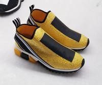 damen-mode-trikots großhandel-2019 frauen Luxus mode strass Sneaker herren Designer schuhe Stoff Stretch Jersey Slip-on Sneaker Lady Gummi Micro Sohle Freizeitschuhe