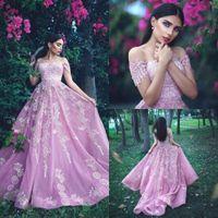 Wholesale royal blue prom dresses for sale - 2019 Princess Arabic Pink Prom Dresses Long Off The Shoulder Appliques Long Chiffon Zipper Back Evening Gowns Custom Made Bridal Guest Dress
