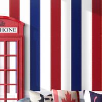 papel pintado a rayas dormitorio al por mayor-Papel pintado vintage europeo, dormitorio para niños, cuarto para niños, rojo, azul, papel pintado de estilo inglés a rayas verticales.