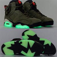 los zapatos de baloncesto brillan en verde al por mayor-Lo más auténtico y auténtico Travis Scott x Air 6 Cactus Jack Oliva mediana GLOW IN THE DARK Calzado de baloncesto de ante verde ejército 3M 006jordan CN1084-200