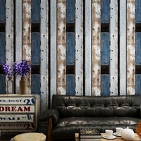 vintage ahşap duvar kağıdı toptan satış-Vintage duvar kağıdı endüstriyel loft nostaljik taklit ahşap tahıl Amerikan ahşap kişilik moda TV kanepe arka plan duvar kağıdı