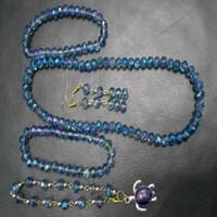 glasperle halskette china großhandel-8 MM Blaues Licht Glas Kristall Perlen Fußkettchen Armband Ohrringe Schlüsselbein Halskette Schmuck-Set Frauen Mode-accessoires