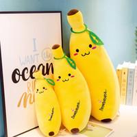 conception d'oreiller d'enfants achat en gros de-Simulation en peluche Banana Banana Coussin 35cm Kawaii Coussin Toy Dolls Super Soft Fruit Design Cadeaux Décoration pour les enfants Enfants Anniversaire