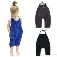 düz renk çocuk giyim toptan satış-2019 Bebek Kız Kayış Romper INS Katı renk Sling kolsuz Tulumlar Yaz moda Butik Çocuklar Tırmanma giysileri C13