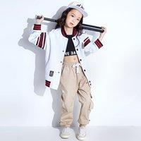 terno cinza trajes venda por atacado-Crianças Adultos Meninos Meninas conjunto de roupas Trajes Cinza Hip Hop calças de Dança tigre Branco Listrado Camisola ternos