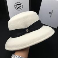 Wholesale felt bucket hats for sale - Group buy New wool white cap hat ladies fisherman hat temperament face small felt bucket