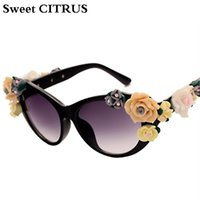 vintage sonnenbrille rosen großhandel-Großhandel Blume Dekoration Sonnenbrille Frauen Cat Eye Mode Sonnenbrille UV400 Für Weibliche Sommer Strand Rosen vintage Eyewear