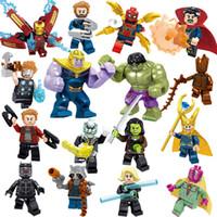 brinquedo homem casco venda por atacado-Vingadores 3 Endgame Loki Black Pather Homem De Ferro Tony Stark Hulk Thanos Thor Visão Mini Toy Figura Bloco de Construção Bloco Assebmle