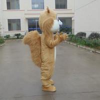 ingrosso costumi marrone code-Alta qualità Make EVA Materiale Casco marrone Big coda scoiattolo Mascotte Costumi Cartoon Apparel Festa di compleanno Masquerade WS1016