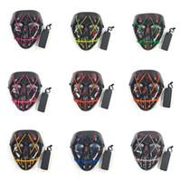 máscaras para masquerade aniversário partido venda por atacado-Halloween Levou Máscara Máscara Do Partido Do Traje Cosplay Fio EL Máscaras Máscara de Carnaval Masquerade Aniversário Glowing 10 Cores HH7-1718
