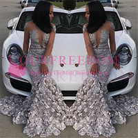 Wholesale formal africa dresses online - 2019 South Africa Style Sheer Long Sleeve Prom Dresses Mermaid D Flora Appliques Sweep Train Formal Evening Occasion Party Dresses Custom