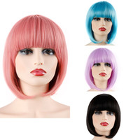 Wholesale colorful wigs for sale - Short Bob Hair Wigs quot Straight with Flat Bangs Synthetic Colorful Cosplay Daily Party Wig for Women Natural As Real Hair