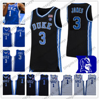 maillot de basket-ball d'or  achat en gros de-2020 Duke Blue Devils NOUVEAU Irving Jersey # 1 Vernon Carey Jr # 3 Jones Tre Kyrie College Basketball Noir Blanc d'or Champions T-shirt 3XL
