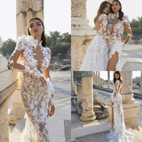 Wholesale mermaid white lace nude long dresses resale online - High Side Split Wedding Dresses Long Sleeve Lace D Floral Appliqued High Collar Mermaid Bridal Gowns Custom Made Beach vestidos de novia