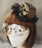 Wholesale mini hat hair accessories resale online - Novelties Steampunk Victorian Gears Mini Top Hat Hats Caps Hats Scarves Gloves Costume Hair Accessory Handmade With Steam Punk Gear Gla