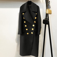 manteau d'hiver s achat en gros de-2018 Hiver Femmes Noir Long Blazer Manteau Piste Concepteur À Double Boutonnage D'or Boutons Dames Parti Manteau Vêtements
