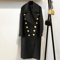 bayanlar kış kara palto toptan satış-2018 Kış Kadın Siyah Uzun Blazer Ceket Pist Tasarımcısı Kruvaze Altın Buttoms Bayanlar Parti Palto Giyim