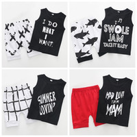 Wholesale month baby boy styles for sale - Kids Clothing Sets Summer Baby Clothes Cartoon letter Print tops shark shorts set Boys Outfits Fashion Children Suits C6216