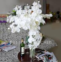 искусственные декоративные орхидеи оптовых-Поддельные Цветы орхидеи 10pcs / серия фаленопсис Орхидеи бабочка Поддельной моль Орхидея для свадебных декоративных искусственных цветов