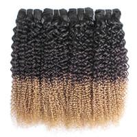 drei ton ombre menschenhaar weben großhandel-Ombre blonde Locken Weave Bundles Jerry Curl-1B 4 27 Three Tone 12-24 Zoll 3 oder 4 Stück brasilianisches Menschenhaar Extensions