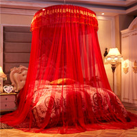 ingrosso letti matrimoniali cinesi-Romantico cinese rosso luna di miele principessa rotonda zanzariera doppio strato pizzo letto baldacchino tenda pieghevole cupola zanzariere # sw