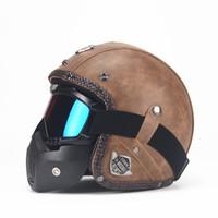 PU Leather Helmets 3 4 Motorcycle Chopper Bike helmet open face vintage motorcycle helmet with goggle mask