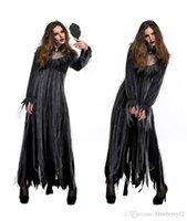 vestido de novia de rendimiento al por mayor-Mujeres Zombie Novia Traje de Halloween Marea Pop Halloween Asustar la ropa de rendimiento Vestidos de fiesta de manga larga y Conjuntos de collar