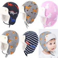 Wholesale baby earmuffs hat resale online - 5 Styles Kids Knit Hats Cotton Animal Jacquard Knitted Earmuffs Plus Velvet Thick Lei Feng Cap For To Months Baby N4Z