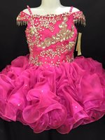Wholesale toddlers hot pink party dresses for sale - Group buy Cute Infants Toddler Little Girls Pageant Formal Prom Dresses Hot Pink Cold shoulder Ruffles Short party Long Flower Girls Dress Cheap