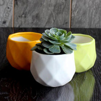 Wholesale ceramic pots for flowers for sale - Group buy geometric cute succulent pot bonsai small ceramic flower planter glazed colorful for home and garden decoration