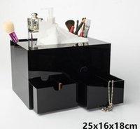 ingrosso vendita di rossetto nero-Vendita calda! 2019 lussuoso marchio nero acrilico cosmetico multifunzione storage box trucco pennello rossetto lip gloss storage box regalo vip