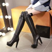 ingrosso stivali alti in coscia-Hot Sale-KEBEIORITY stivali delle donne della molla di autunno sopra il ginocchio alti talloni sexy della coscia stivali alti in pelle nera Brown delle donne della piattaforma dei pattini