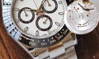 beyaz seramik otomatik erkek saatleri toptan satış-AR Son sürüm 904L Çelik İsviçre CAL.4130 4130 Chronograph Çalışma 40mm 116500 Seramik çerçeve Beyaz kadran Otomatik Mens Watch Saatler