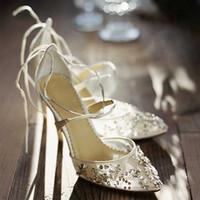 ingrosso cinghia bling abito da sposa-scarpe firmate Bling Crystal Wedding Shoes Piuttosto Stunning tacco abito da sposa Scarpe peep toe White Lace cristallo lavorato a mano Prom Pompe 8 centimetri