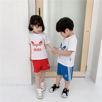 Wholesale jacket double breasted kids for sale - Group buy Kids Designer Clothes Girls Boys AD Letter T shirt Shorts kids Tracksuit Two Piece suit Brand kids short set Summer Outfit sale C52501