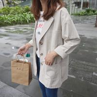 kadın keten katları toptan satış-Kadın sonbahar yeni stil retro Avrupa ve Amerikan tarzı rahat takım elbise yaka uzun pamuk ve keten takım elbise ceket ceket