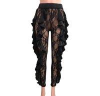 frauen s sommer enge hosen großhandel-Frauen 2019 Sommer Hosen Lange Perspektive Schwarz Designer Dünne Hosen für Damenbekleidung Eng anliegende Hosen Sexy Lace Capris Größe S-XL