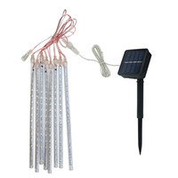 Wholesale solar powered tube lights resale online - Solar Powered CM LED Meteor Shower Rain Tubes LED String Light for Garden Tree Wedding Party Holiday Decor
