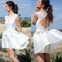 Wholesale causal wedding dresses resale online - Simple above knee Beach Wedding Dresses Aline Short Neckline Causal Open Back Lace Satin Hippie Bridal Gown bohemian Cheap Cap Sleeve Europe
