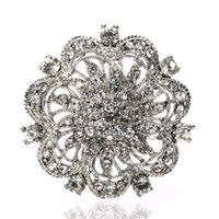 elmas taklidi kek pimleri toptan satış-Kek Vintage Stil Rodyum Gümüş Temizle Rhinestone Diamante Çiçek Buketi Düğün Pastası Pin broş pins
