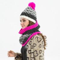 Wholesale warm scarf bibs resale online - Hat bib suit Snowflake hat scarf fashion two piece suit Autumn and winter ladies warm decoration EEA438