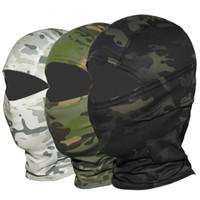 ingrosso casco dell'esercito di airsoft-Multicam CP Camuffamento Balaclava Full Face Mask Wargame Ciclismo Caccia Bike Casco Fodera Tattico Airsoft Cap