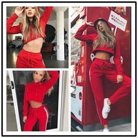 Wholesale lady sports wear clothing online - Sport Suit Women Fitness Clothing Sports Wear For Ladies Pink Sportswear Set Hooded Suit Sport Autumn Workout Clothes For Women
