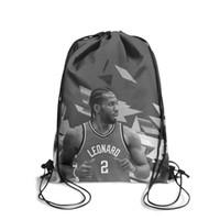 Wholesale two hearts locked chain resale online - Drawstring Sports Backpack Kawhi Leonard Toronto geometric grey the klawfashion daily gym Travel Fabric Backpack