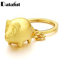 золотые брелки для мужчин оптовых-Dalaful Pig Keychains Metal Gold-color Key Ring Chain Anime Pendant Keyrings Gifts for Men Women for Car  keychain K386