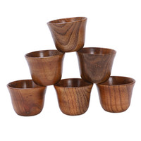 Wholesale wine gift sets free shipping for sale - Group buy 30pcs creative tea set small wooden cup small cup anti side wooden cup and natural wood wine glass wooden tea