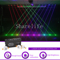 dj mini denetleyici toptan satış-Sharelife Mini Ücretsiz Kollokasyon Kırmızı Yeşil Mavi Işın Projektör Lazer Perde Denetleyici DMX DJ Parti Kulübü Gösterisi Sahne Aydınlatma
