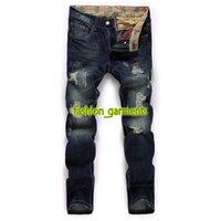 Wholesale designer trousers men online - Brand New Men s Designer Trend Personality Trousers Men s Fashion Hole Jeans Straight Trousers Nostalgic Washed Denim Men s Trousers